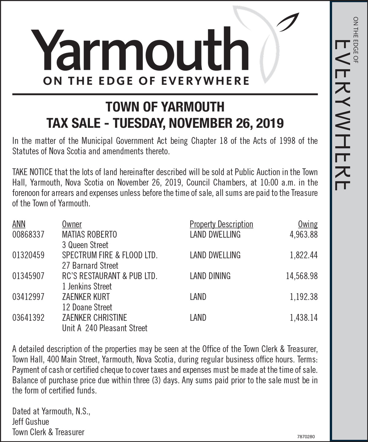 TOWN OF YARMOUTH TAX SALE NOV